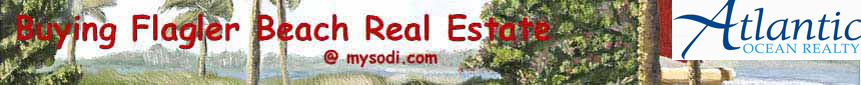 Buying Flagler Beach, Florida Real Estate banner including the Atlantic Ocean Realty logo on a background image of the Intracoastal Waterway and a yellow catamaran with a bright red sail beyond the swaying palm trees
