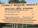 the Movie Night in the Park sign at the Wickline Park