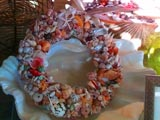 Shell wreath for sale at Down by the Sea gift shop.